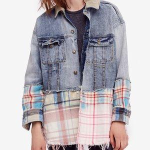 Free People Sirius Cotton Plaid Contrast Jacket